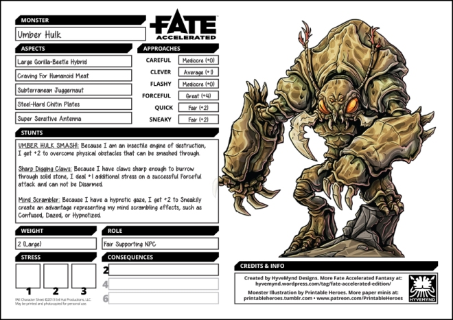 Monday Monsters: Umber Hulk – Fantastic Fate Resources